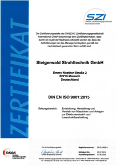 Steigerwald Strahltechnik is certified in accordance with DIN EN ISO 9001:2015